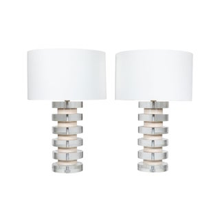 Monumental Pair of Karl Springer Stacked Lucite Lamps For Sale