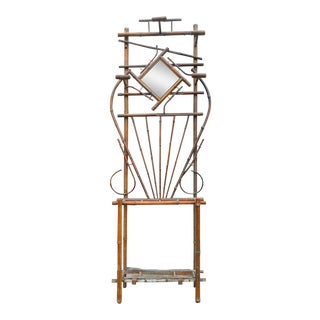 French Antique Bamboo Umbrella Stand & Coat Rack For Sale