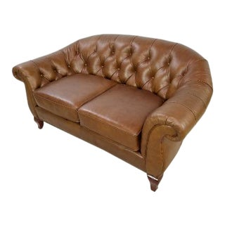 Tufted Chesterfield Ralph Lauren Leather Loveseat Sofa For Sale