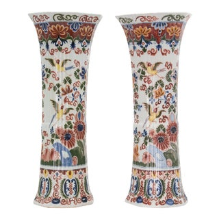 "Large 17"" Antique 19th Century Delft Polychrome Vases - a Pair For Sale"