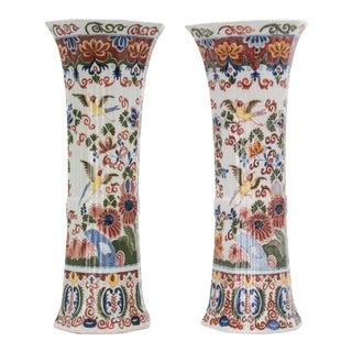 Large Antique 19th Century Delft Polychrome Vases - a Pair For Sale