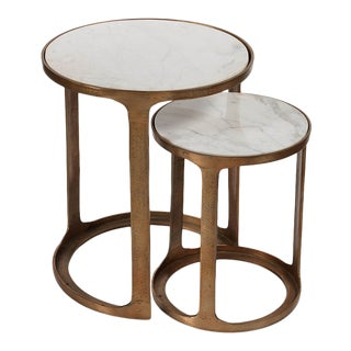 Kenneth Ludwig Chicago Nikki Round Marble and Raw Aluminum Nesting Tables - Set of 2 For Sale