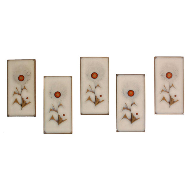 Vintage Mid-Century Italian Glazed Floral Tiles - Set of 5 For Sale In Los Angeles - Image 6 of 6
