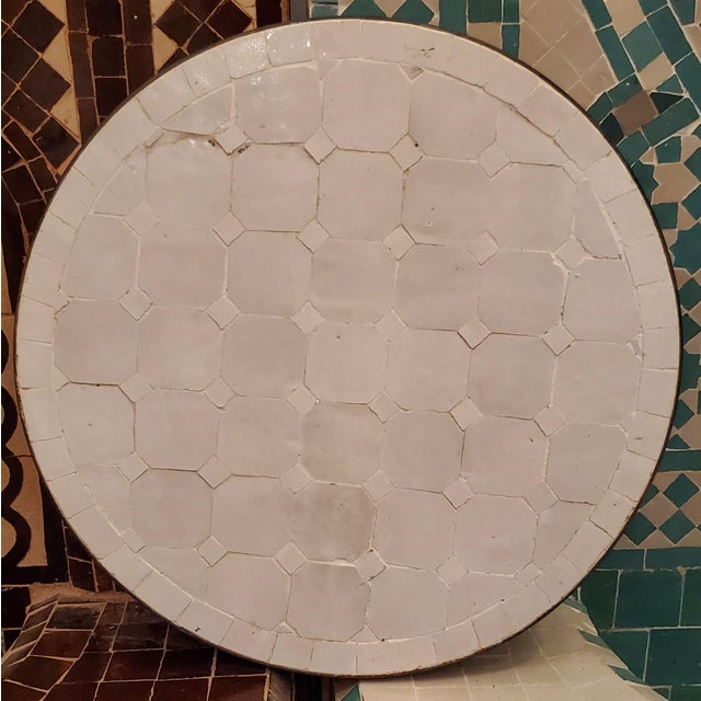 Moroccan White Mosaic Side Table For Sale - Image 4 of 7