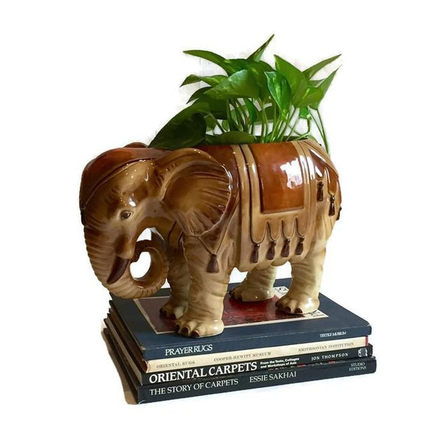 Fitz & Floyd Mid-Century Modern India Elephant Ceramic Planter - Image 6 of 8