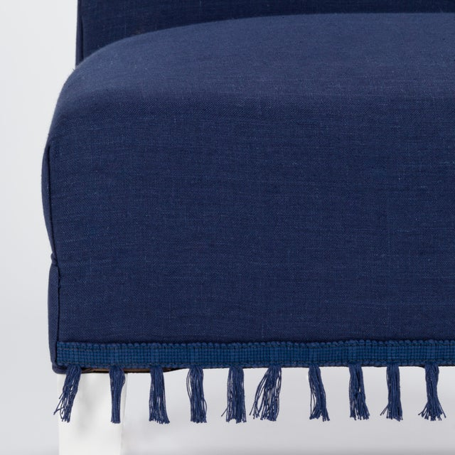 Navy Blue Casa Cosima Sintra Chair in Cadet Blue Linen For Sale - Image 8 of 9