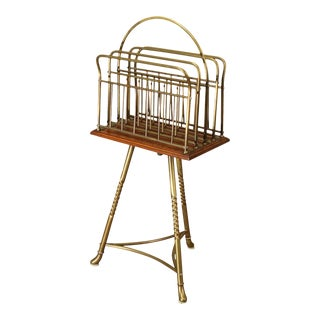 Edwardian Antique Brass and Oak Revolving Magazine Stand For Sale