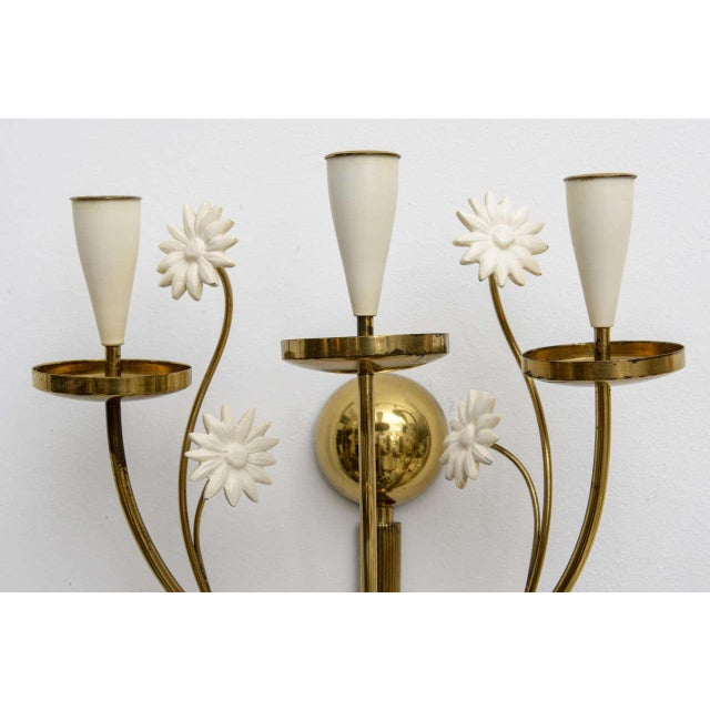1950s Large Scale 1950's Italian Brass Candle Sconce For Sale - Image 5 of 11