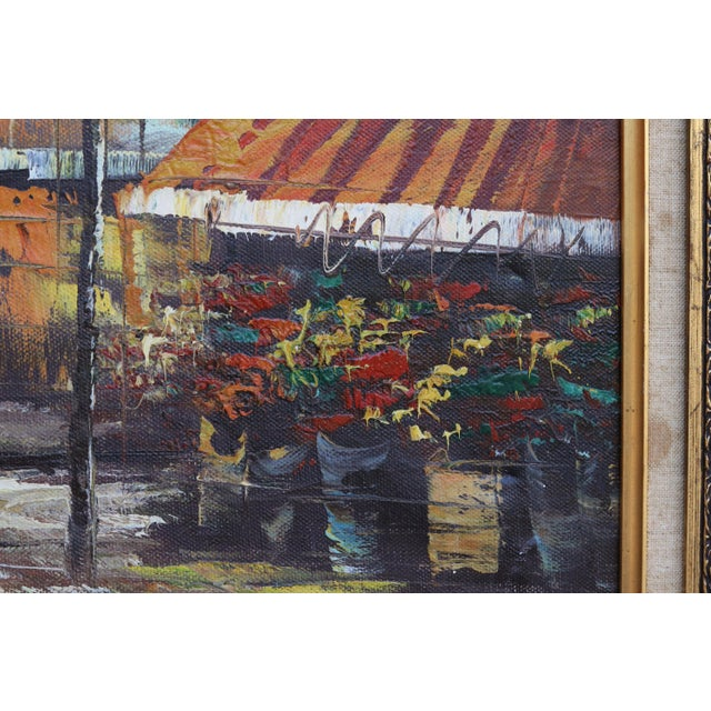 Canvas French Street Scene Oil Painting For Sale - Image 7 of 8