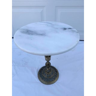 Vintage Art Nouveau Marble and Brass Filigree Accent Table Preview