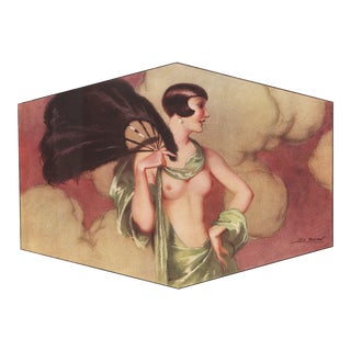 Matted Art Deco Lithograph Erotic Nude With a Fan For Sale