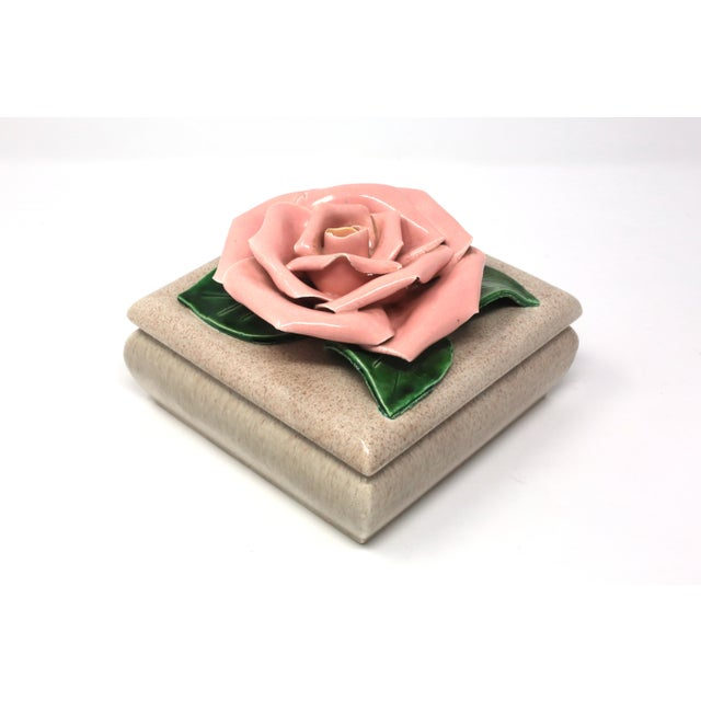 Gorgeous 1971 Chanel Inspired Camellia Ceramic Square Lidded Dish For Sale In Tampa - Image 6 of 11