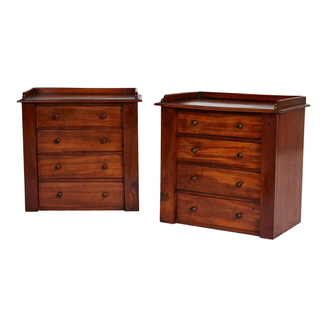 Pair of Petite English Mahogany Chests For Sale