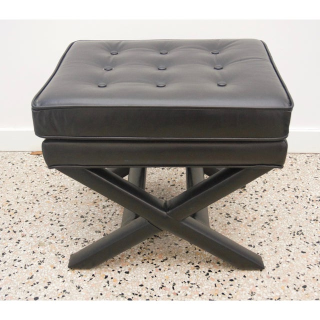 This stylish set of black leather stools were acquired from a Palm Beach estate and will make the perfect addition to you...