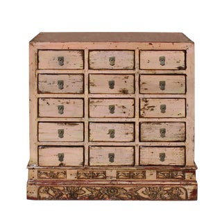 Chinese Distressed Mauve Beige 15 Drawers Medicine Apothecary Cabinet For Sale