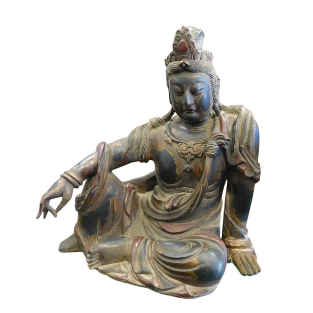 Distressed Golden Black Wood Kwan Yin Statue - Image 2 of 10