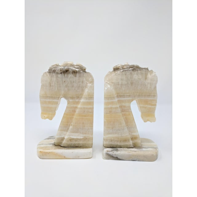 Alabaster Art Deco Alabaster Horse Bookends - a Pair For Sale - Image 7 of 7