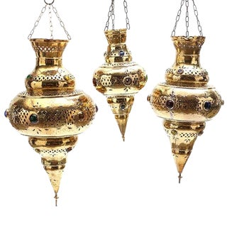 20th Century Moroccan Style Brass Jeweled Reticulated Pendant Lanterns - Set of 3 For Sale