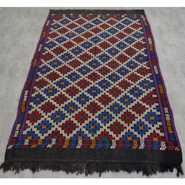 """Textile Hand-Woven Rug Kilim Braided Nomadic Rug - 5' X 8'4"""" For Sale - Image 7 of 12"""