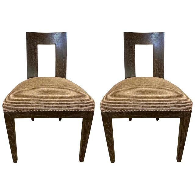 Set Ten Donghia 'Margarita' Design Dining Chairs Pickled Oak, Labeled Donghia For Sale