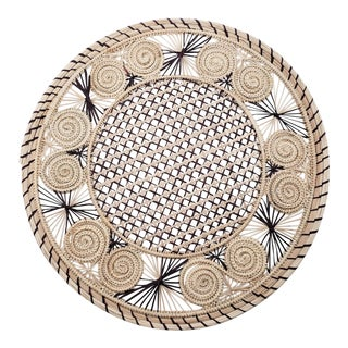 Brown & Cream Iraca Fibre Placemat For Sale