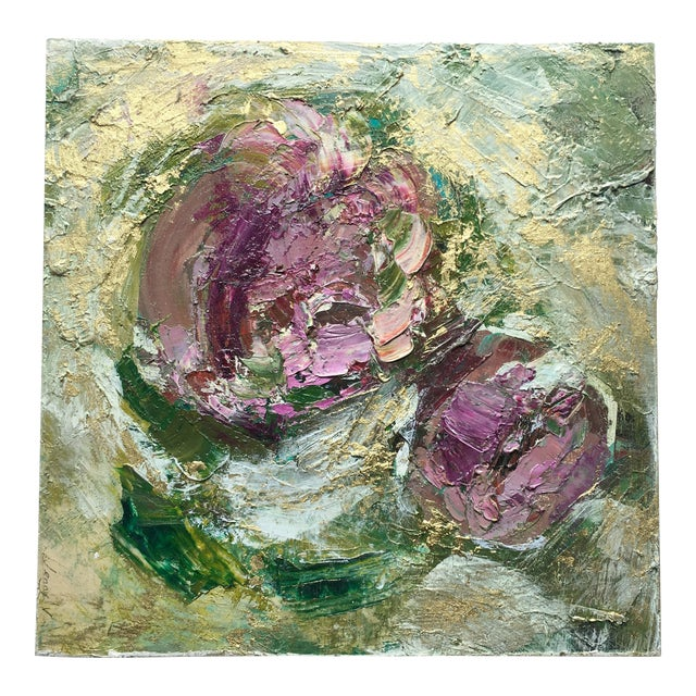 Abstract Metallic Gold Floral Oil Painting by Jenny Vorwaller - Image 1 of 5