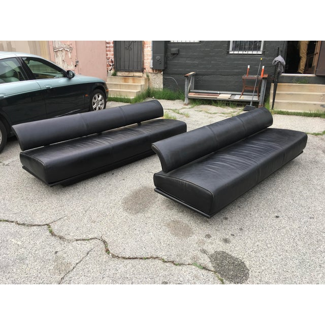 Super rare pair of Italian modern sofas, never before seen and evading all expert identification. We have reached out to...