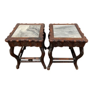 Chinese Rosewood Side Tables With Marble Tops - a Pair For Sale