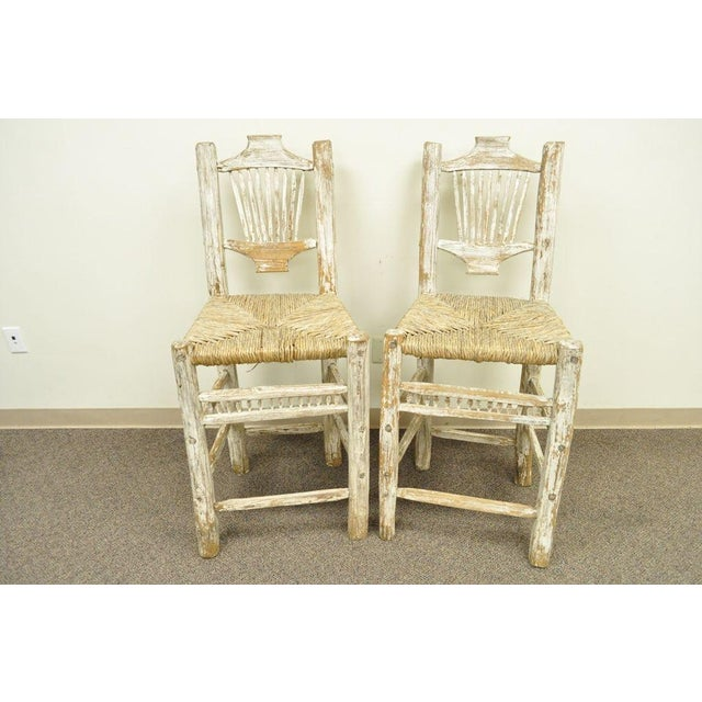 2 Rustic Country Log Cabin Wood Branch Rush Seat Bar Stools Chair Hickory Style For Sale - Image 4 of 11