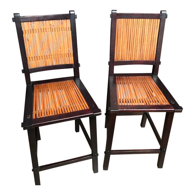 Asian Inspired Wood and Bamboo Bar Stools - A Pair For Sale