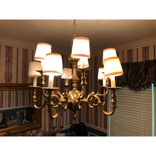 1970s Antique Colonial Williamsburg 10 Arm Brass Chandelier Preview