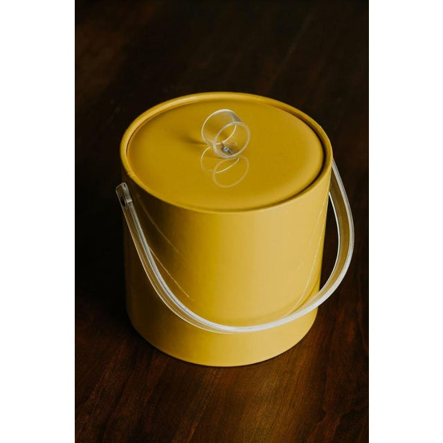 Vintage Vinyl Yellow Ice Bucket makes for fun tablescape when entertaining. White plastic interior with yellow padded...