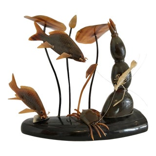 Vintage Figurative Horn Sculpture With Crabs and Lobster For Sale