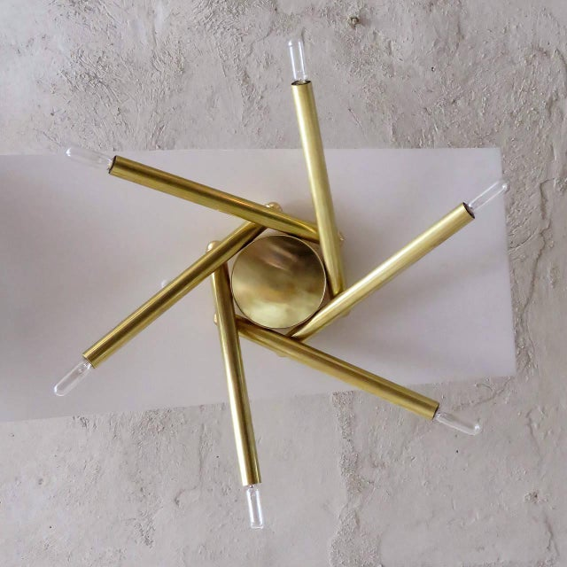 Spiral Six-Arm Brass Flush Mount - Image 4 of 10