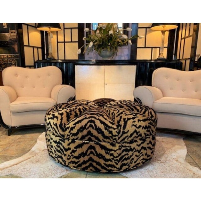 Italian Silky Tiger Woven Heavy Chenille Ottoman For Sale - Image 9 of 10