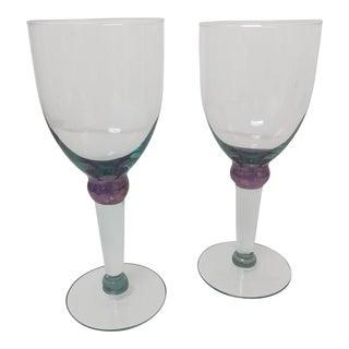 Blue & Purple Wine Glasses - A Pair