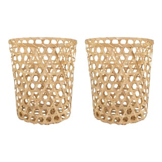 Extra Small Open Cane Planter Baskets - a Pair For Sale