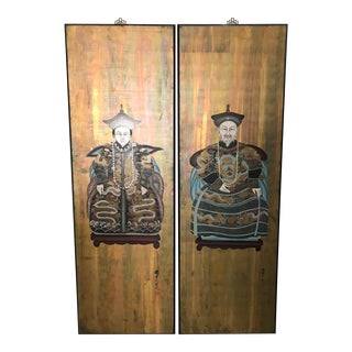 Ancestor Wall Hangings/Paintings of Seated Nobles - a Pair