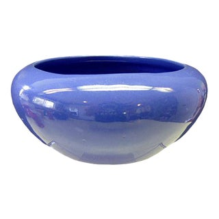 Fred Johnson Bauer Pottery Art Deco California Blue Bulb Bowl For Sale