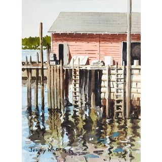 Jerry Weers Marina Boat Dock Watercolor Painting For Sale