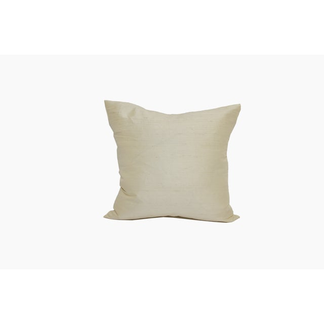 Ivory Raw Silk Square Pillow Cover - Image 3 of 4