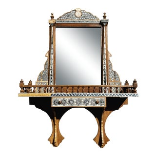 Inlaid Mother of Pearl Mirror With Shelf and Drawer For Sale