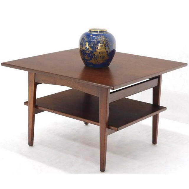 1970s Jens Risom Square Occasional Coffee Side Table Oiled Walnut For Sale - Image 5 of 12
