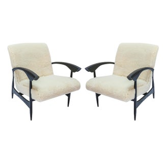 Custom Black Matte Oak Armchairs in Ivory Wool - a Pair For Sale