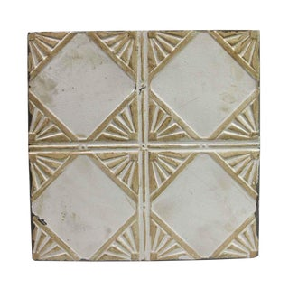 Antique Art Deco Tan & White Tin Ceiling Panel For Sale
