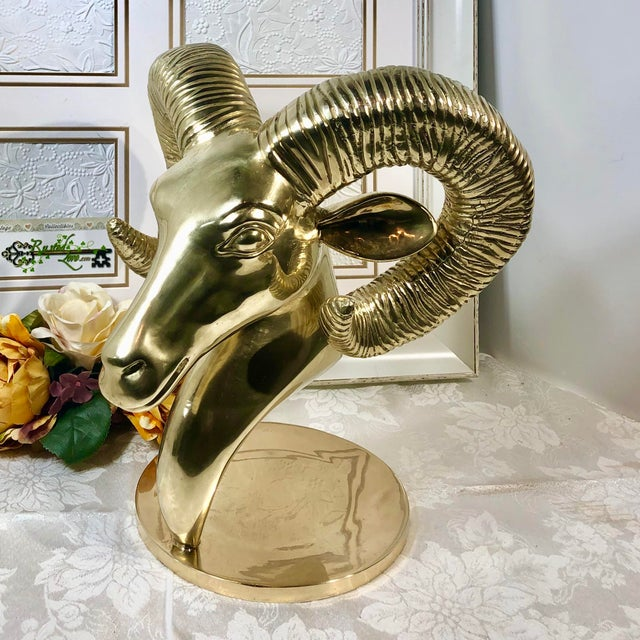 Vintage Solid Brass Ram Head Statue For Sale - Image 10 of 12