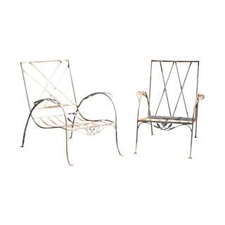 Salterini Vintage Art Nouveau Wrought Iron Pair Garden Patio Lounge Chairs For Sale