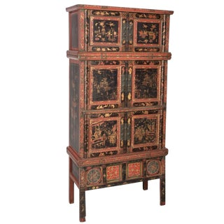 Tall Chinese Painted and Partial-Gilt Wedding Chest For Sale