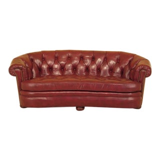 Century Red Tufted Leather Chesterfield Sofa
