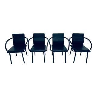 """Set of Four Ettore Sottsass """"Mandarin"""" Black Leather Dining Chairs for Knoll For Sale"""